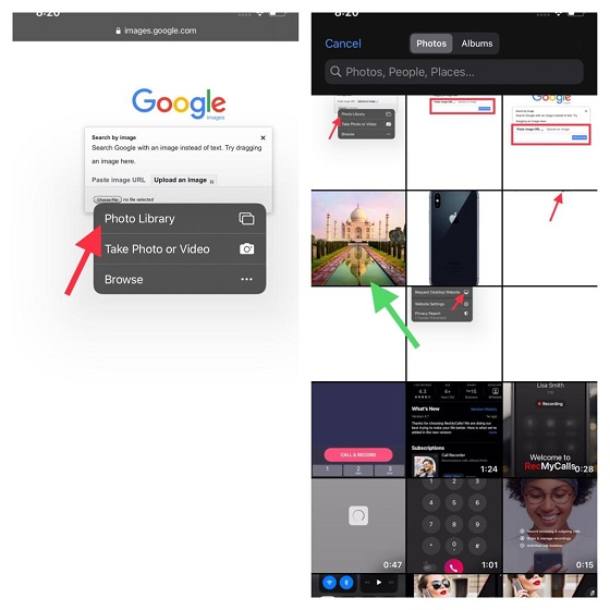 Choose photo from camera roll - Reverse Image Search on iPhone