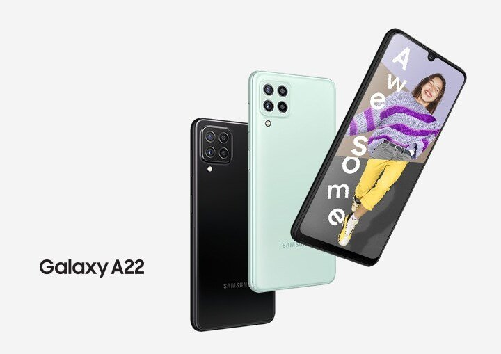Samsung Galaxy A22 pictured in case renders a month