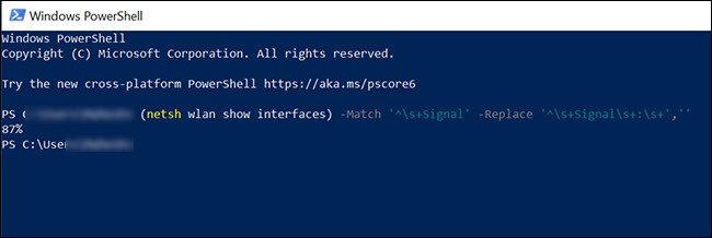 Check Wi-Fi strength in Windows 10 using PowerShell